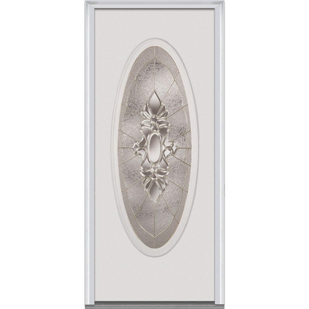 Milliken Millwork 32 in. x 80 in. Heirloom Master Decorative Glass Oval Lite Primed White Fiberglass Smooth Prehung Front Door