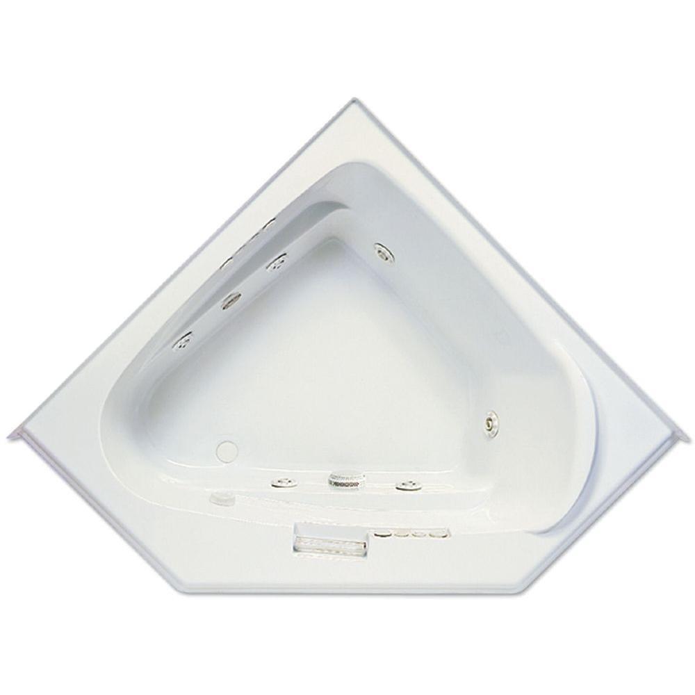 Aquatic Morandi 60 in. Acrylic Left Front Drain Corner Drop-In Whirlpool Bathtub with Heater in White