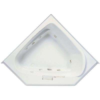 Morandi 60 in. Acrylic Left Front Drain Corner Drop-In Whirlpool Bathtub with Heater in White