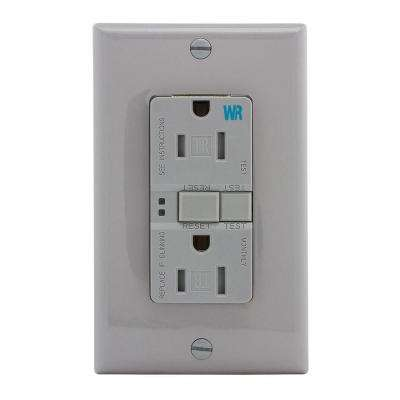 GFCI Self-Test 15A -125V Tamper and Weather Resistant Duplex Receptacle with Standard Size Wallplate, Gray