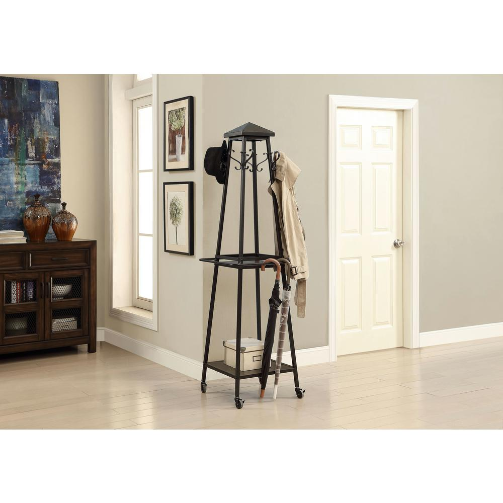 Black 8-Hook Coat Rack