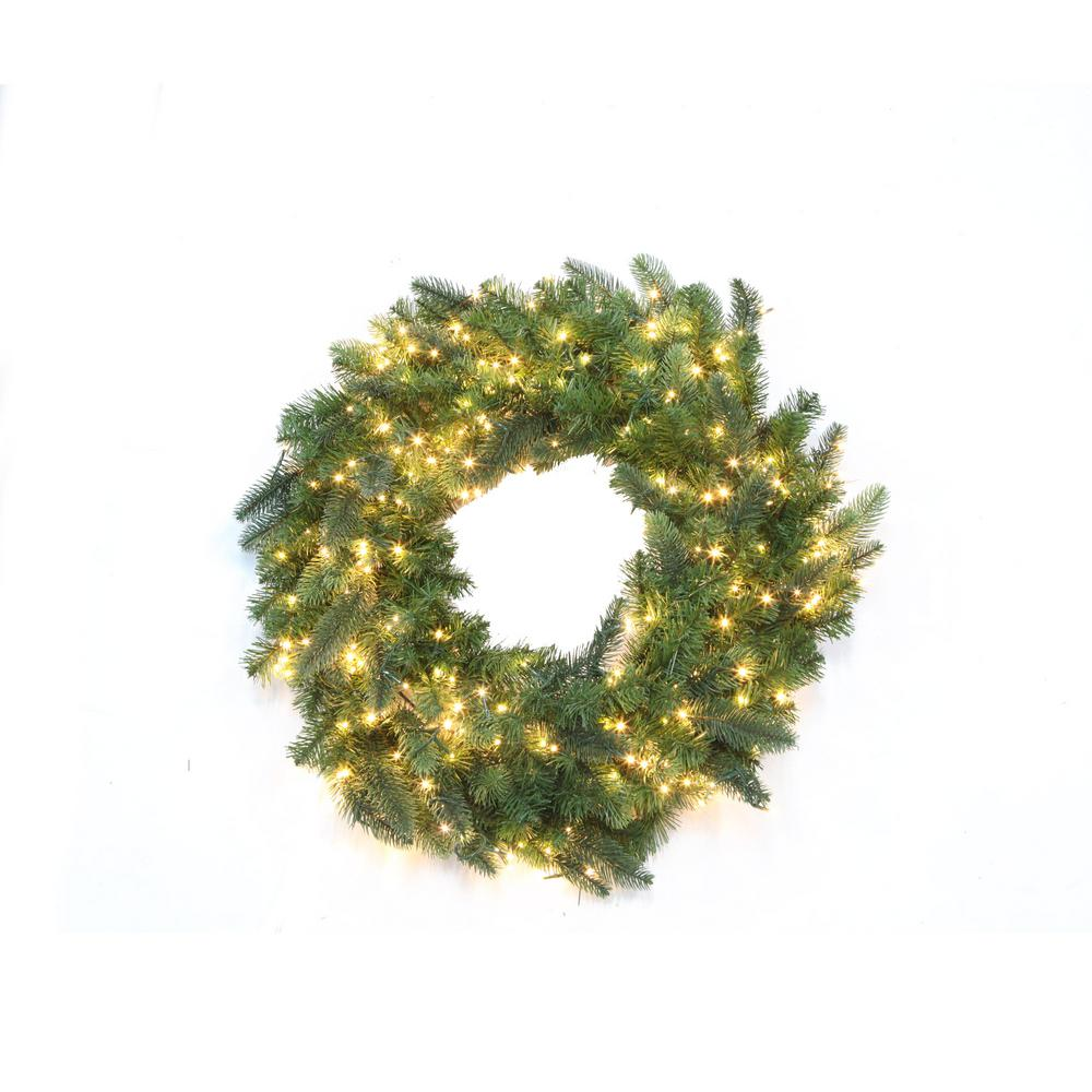 30 in. Pre-Lit LED Warm White Starry Light Grand Spruce Wreath