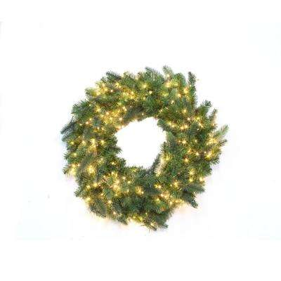 30 in pre lit led warm white starry light grand spruce wreath - Outdoor Christmas Wreaths