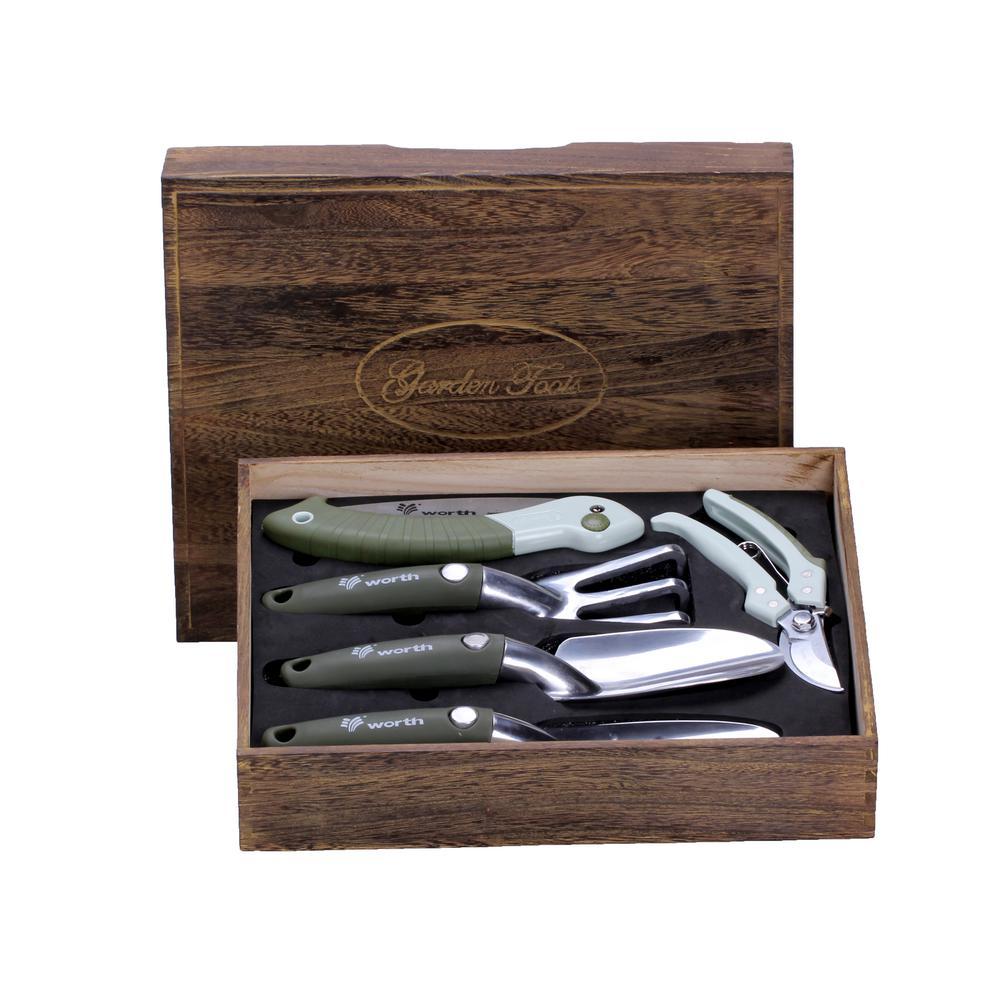 Deluxe 5 - piece Garden Tool Set in Wooden Gift Box