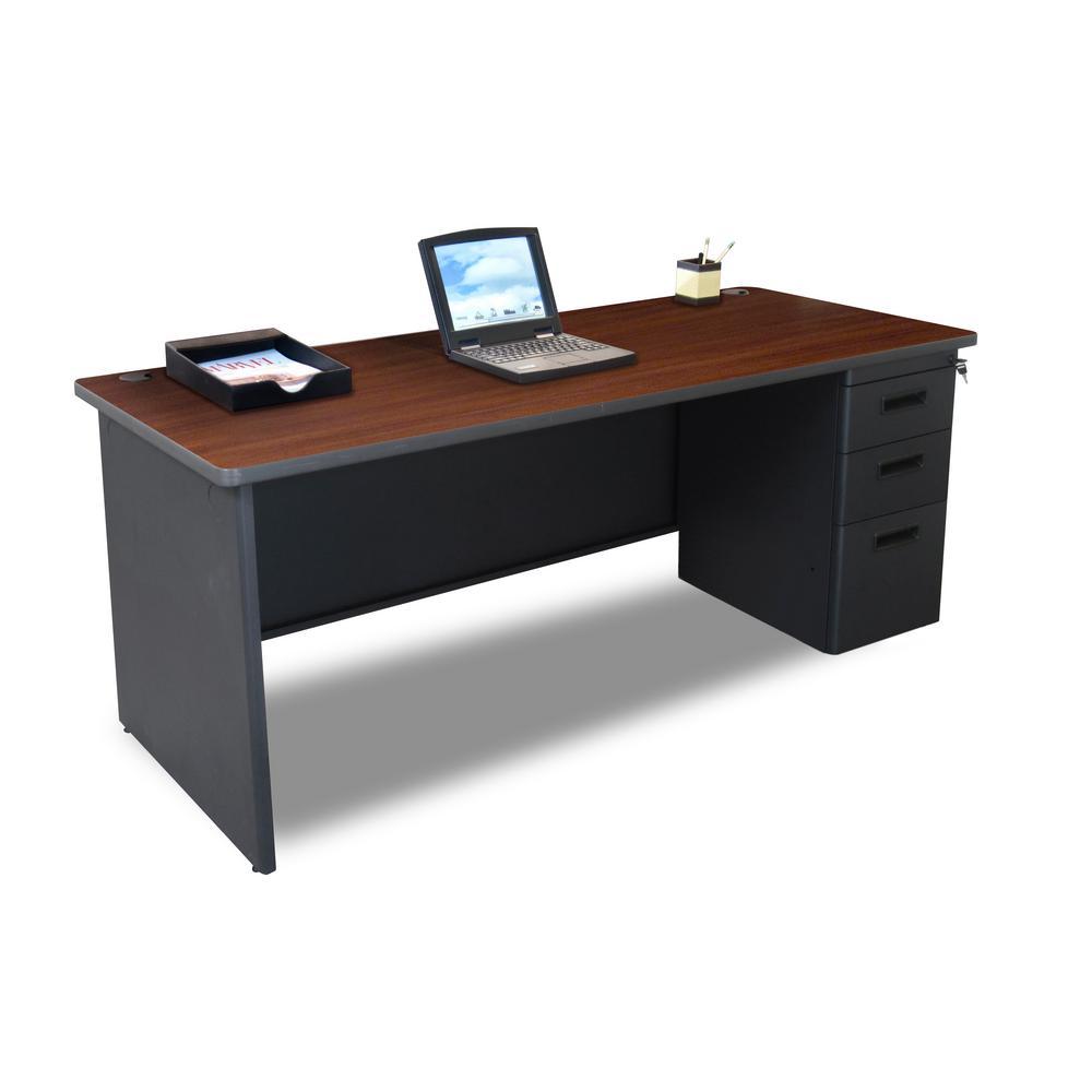72 in. W x 36 in. D  Mahogany Laminate and Dark Neutral  Single Full Pedestal Desk