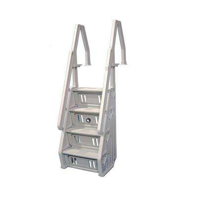 The Vinyl Works Deluxe 24 In Adjustable In Step Ladder For Above Ground Pool In White In24 W The Home Depot