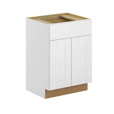 Princeton Shaker Assembled 24x34.5x21 in. Base Bathroom Vanity Cabinet in Warm White