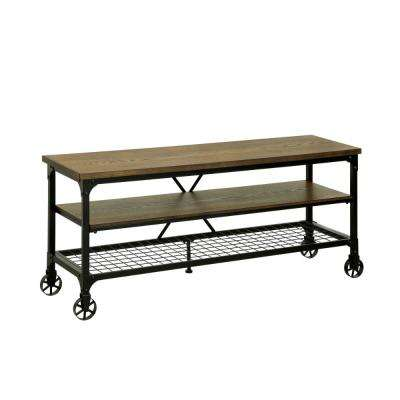 Brown Industrial Style 54 in. TV Stand and Entertainment Center of Wood and Metal