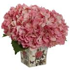 Nearly Natural Hydrangea with Floral Planter