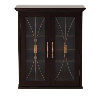 Victorian 20-1/2 in. W x 24 in. H x 8-1/2 in. D Bathroom Storage Wall Cabinet in Espresso