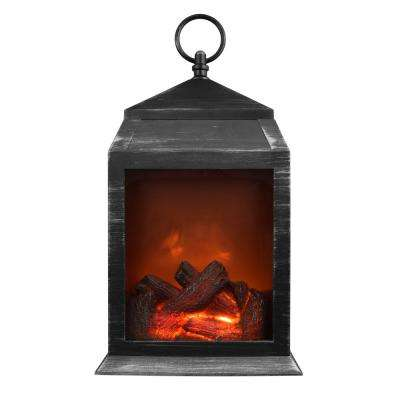 36-Lumen Silver Safe Flameless Fireplace Battery Operated 6-LED Lantern