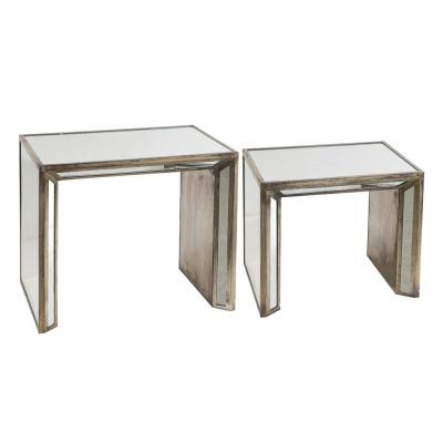 Waverly Mirrored and Brown Rectangle Side Table
