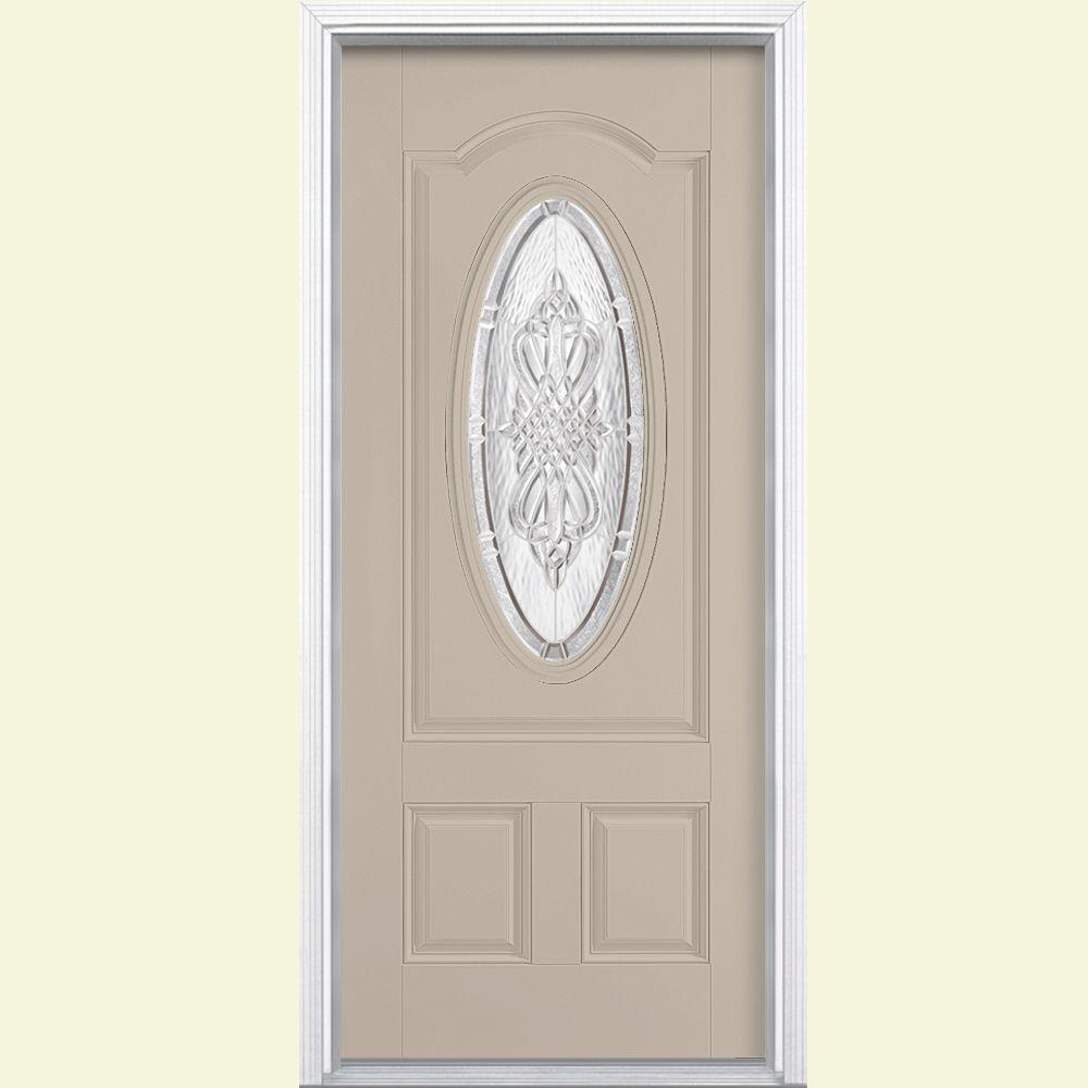 Masonite 36 in. x 80 in. New Haven 3/4 Oval Left Hand Painted Smooth Fiberglass Prehung Front Door w/ Brickmold, Vinyl Frame