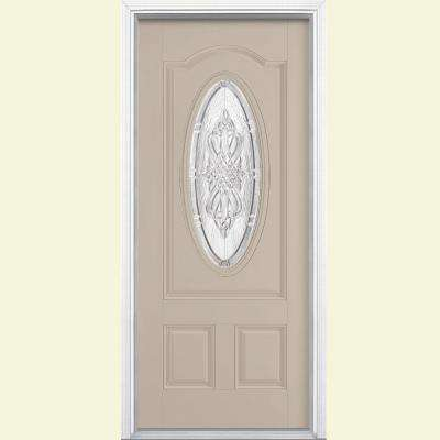 36 in. x 80 in. New Haven 3/4 Oval Left Hand Painted Smooth Fiberglass Prehung Front Door w/ Brickmold, Vinyl Frame
