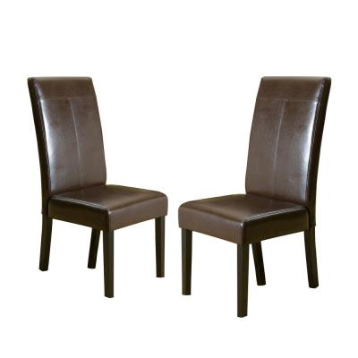 Lissa Chocolate Brown PU T-Stitch Dining Chairs (Set of 2)