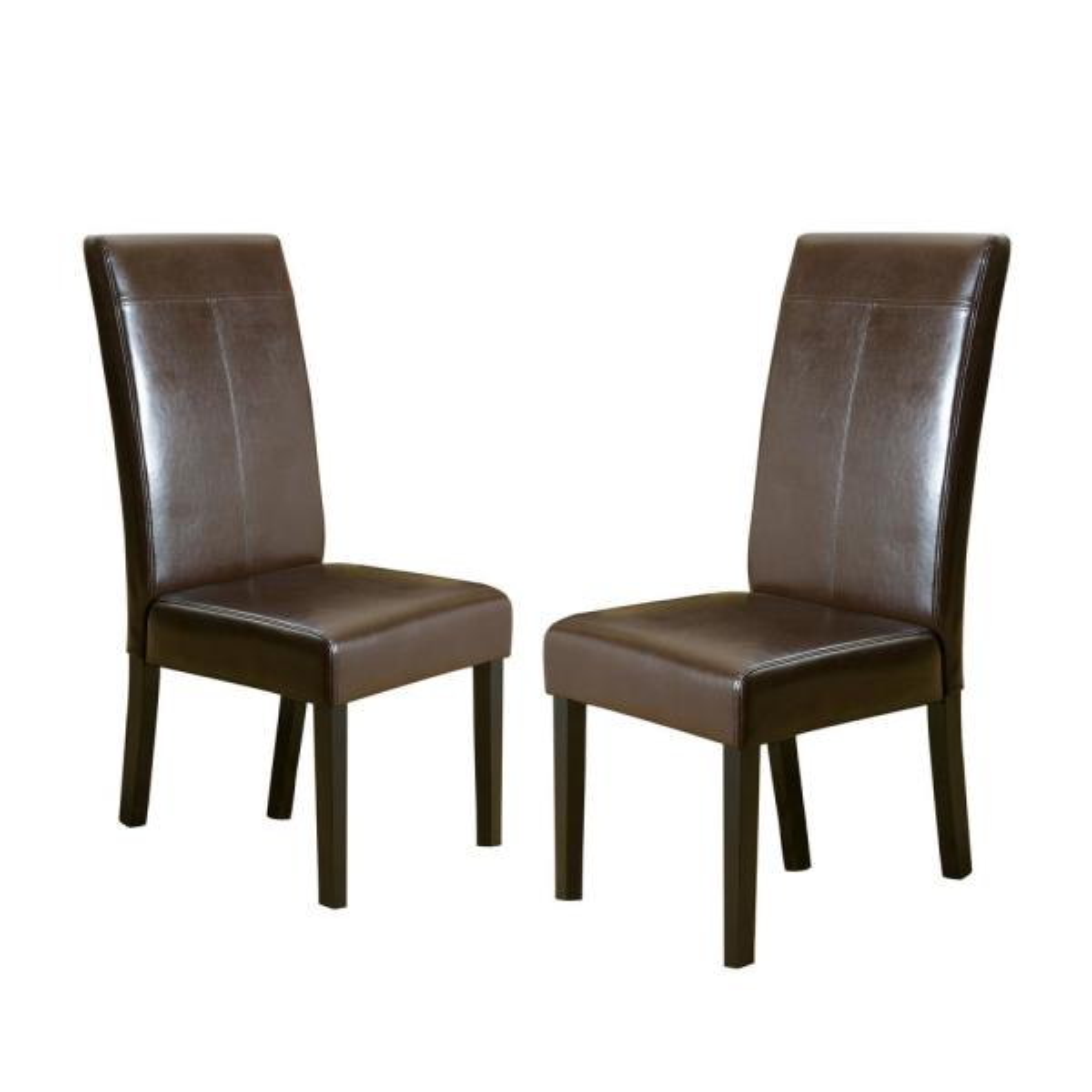 Lissa Chocolate Brown PU T-Stitch Dining Chairs (Set of 2)