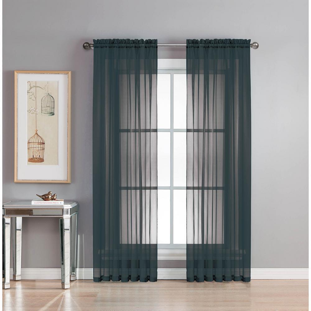 Sheer Sheer Elegance 84 in. L Rod Pocket Curtain Panel Pair, Black (Set of 2)