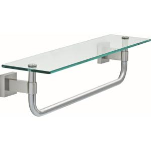Maxted 18 in. W Glass Shelf with Towel Bar in Brushed Nickel