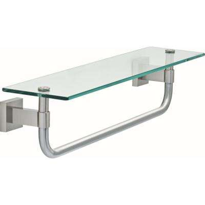 Maxted 18 in. Glass Shelf with Towel Bar in Brushed Nickel
