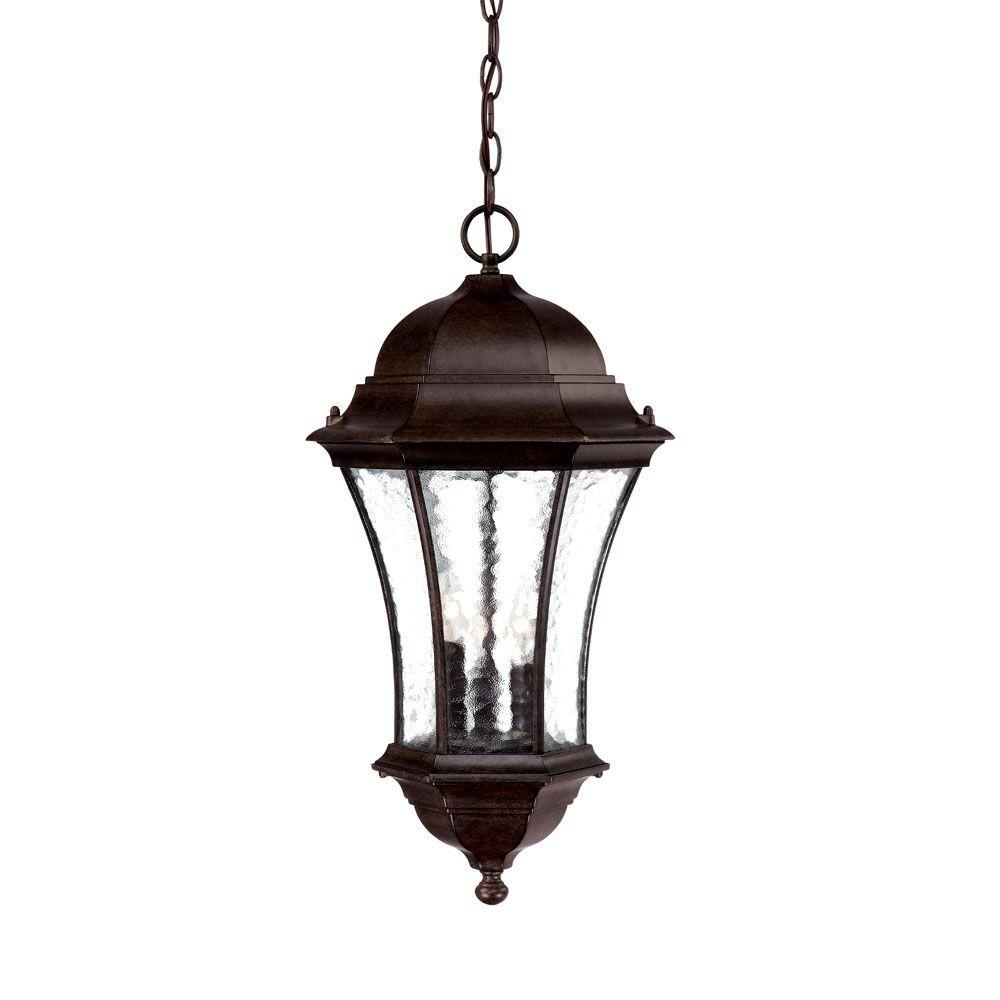 Acclaim Lighting Waverly Collection 3-Light Black Coral Outdoor Hanging Lantern Light Fixture
