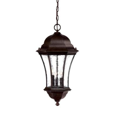 Waverly Collection 3-Light Black Coral Outdoor Hanging Lantern Light Fixture