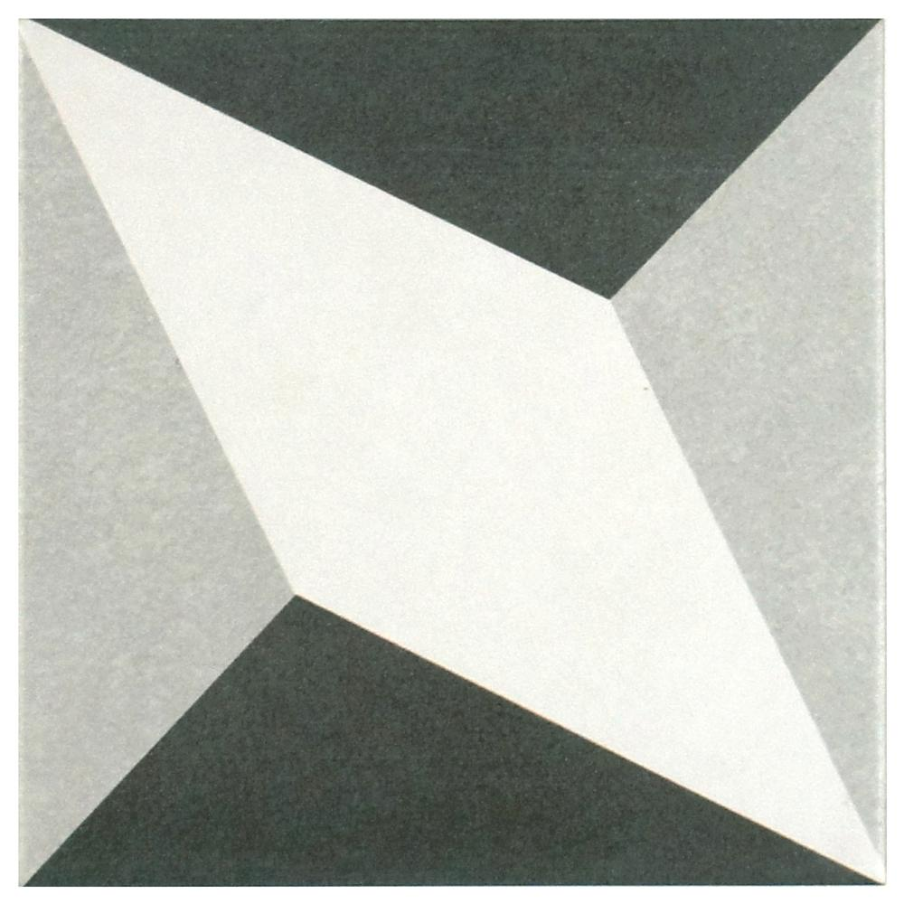 Merola Tile Twenties Diamond Encaustic 7-3/4 in. x 7-3/4 in. Ceramic Floor and Wall Tile