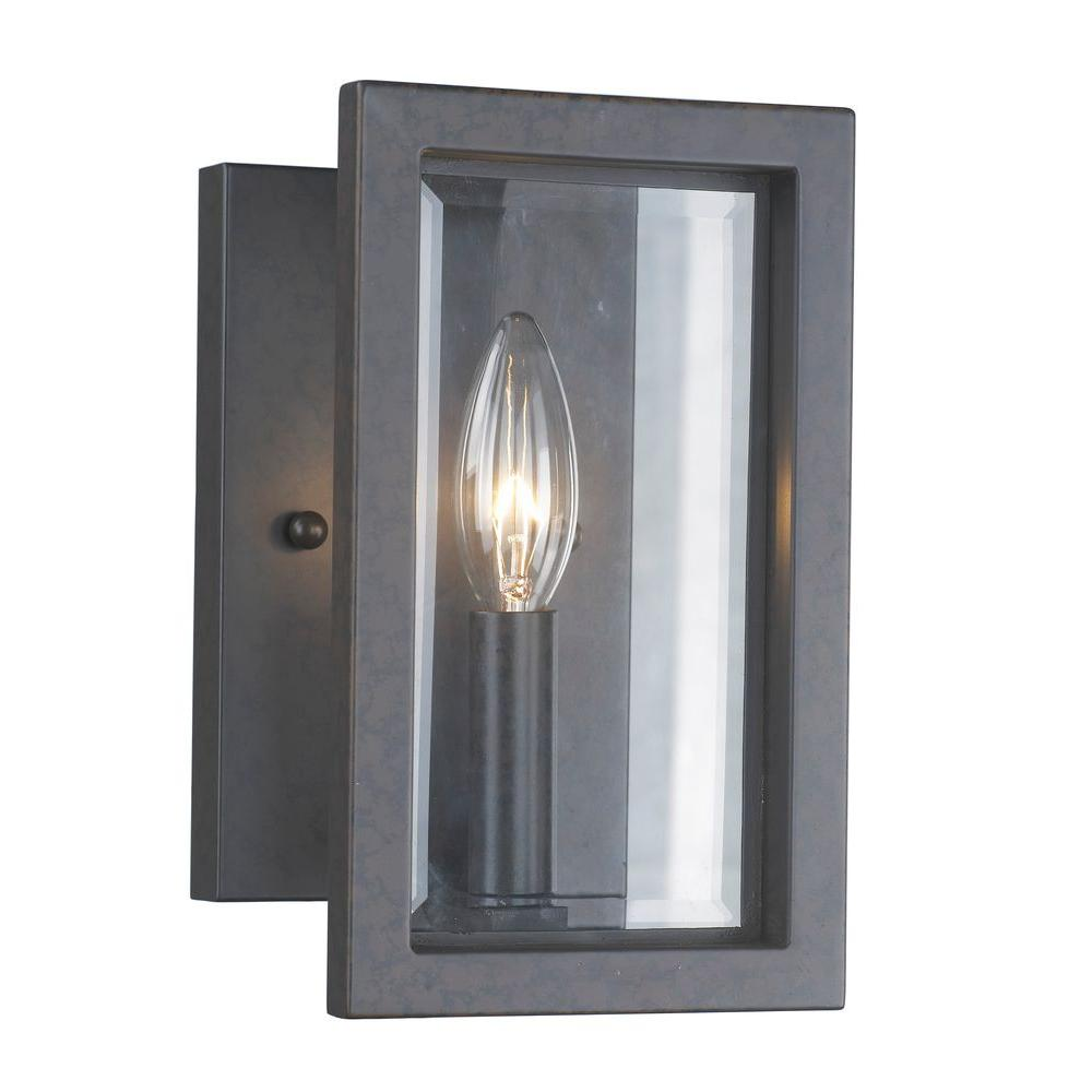 1 Light Oxide Bronze Sconce With Panel Glass Shade