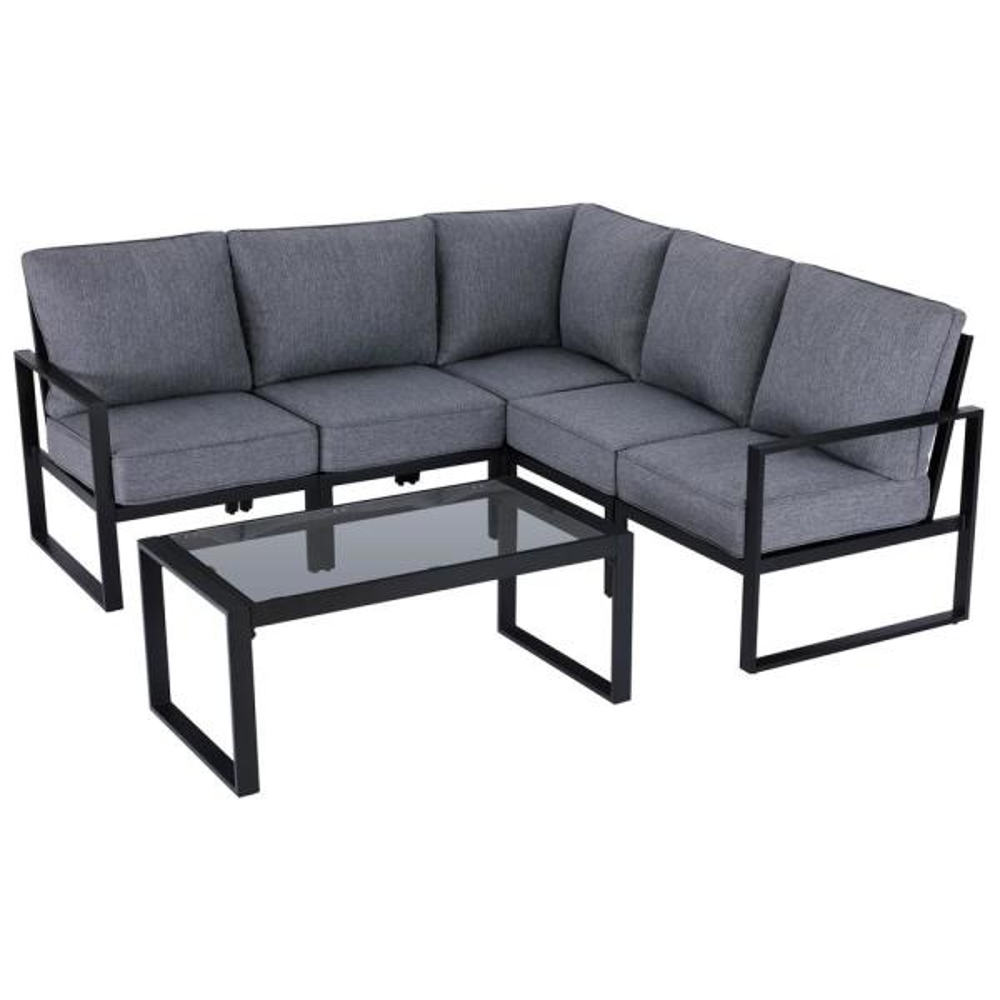 Hampton Bay Barclay 6 Piece Black Steel, Outdoor Furniture Sectional Sofa