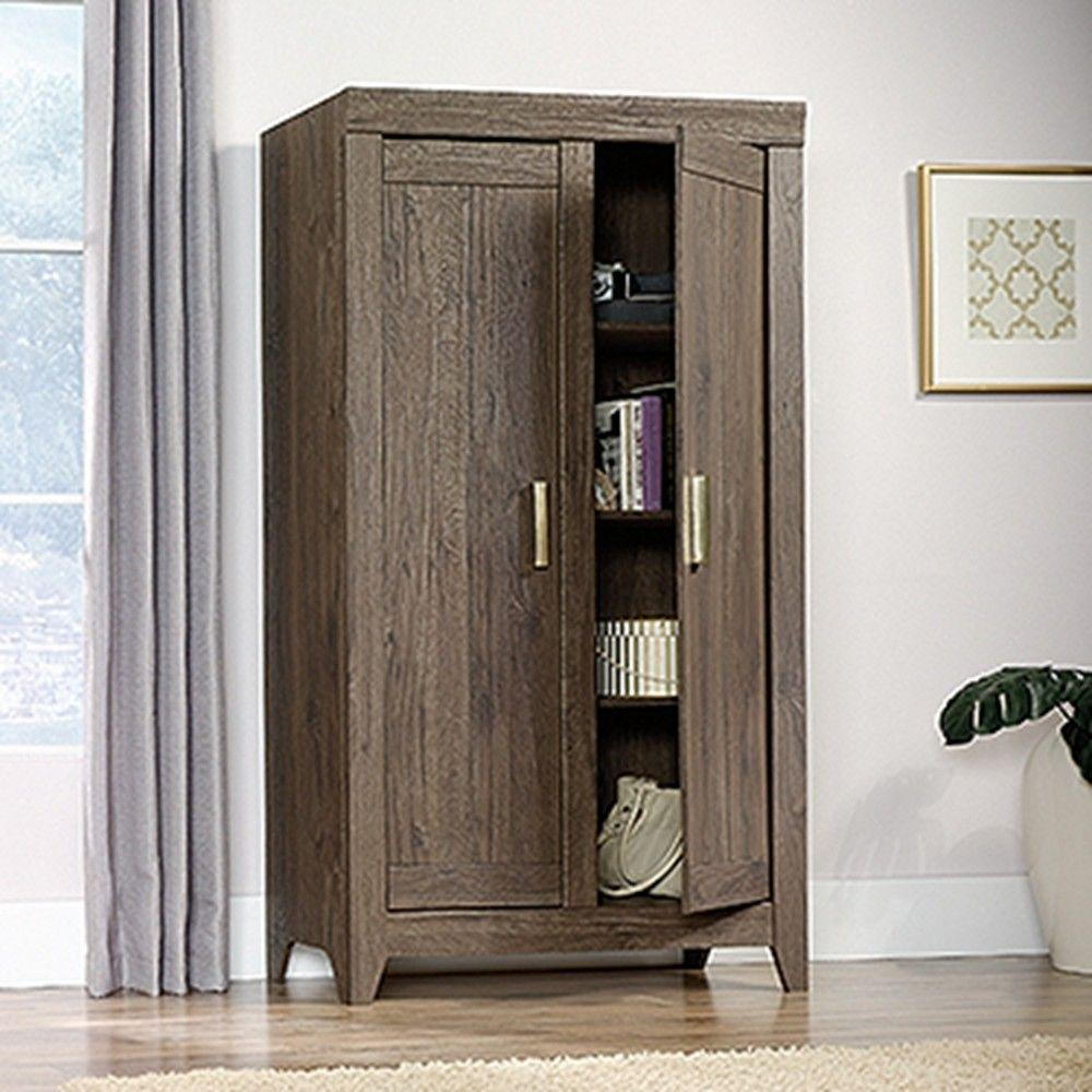 SAUDER Adept Fossil Oak Storage Cabinet-418142 - The Home Depot
