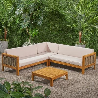 Noble House Linwood Teak Brown 4-pc Wood and Wicker Patio Conversation Sectional Seating Set w/ Beige Cushions