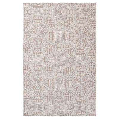 Javiera Contemporary Moroccan 8 ft. x 10 ft. Area Rug in Ivory and Cameo Rose