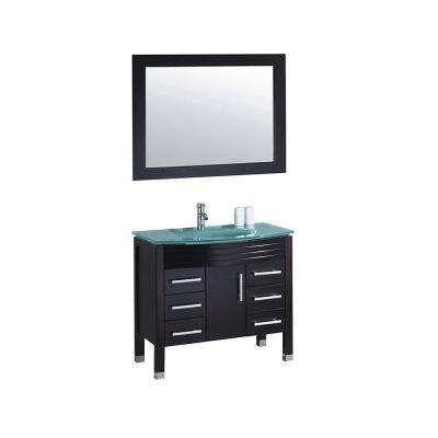 Figi 48 in. W x 22 in. D x 36 in. H Vanity in Espresso with Glass Vanity Top in Aqua with Aqua Basin and Mirror
