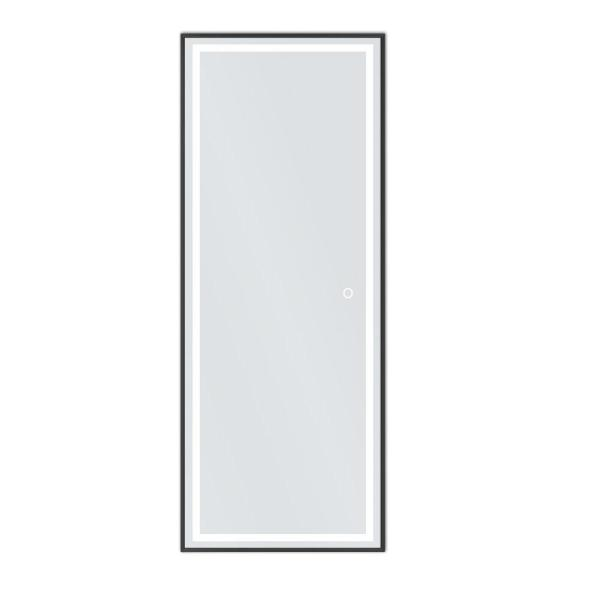 64 2 In X 21 3 In Modern Rectangle Led Metal Framed Accent Mirror Barlan Black 16354 The Home Depot