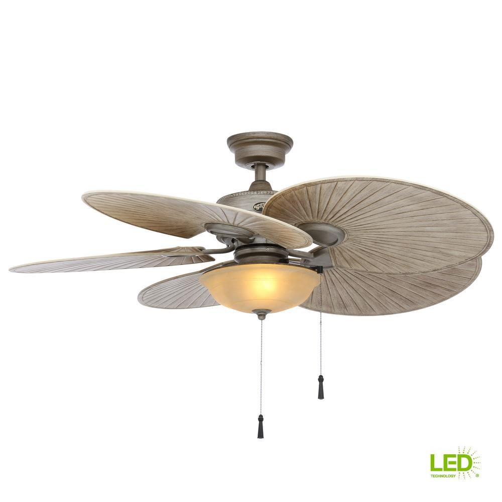 Havana 48 in. LED Indoor/Outdoor Cambridge Silver Ceiling Fan with Light