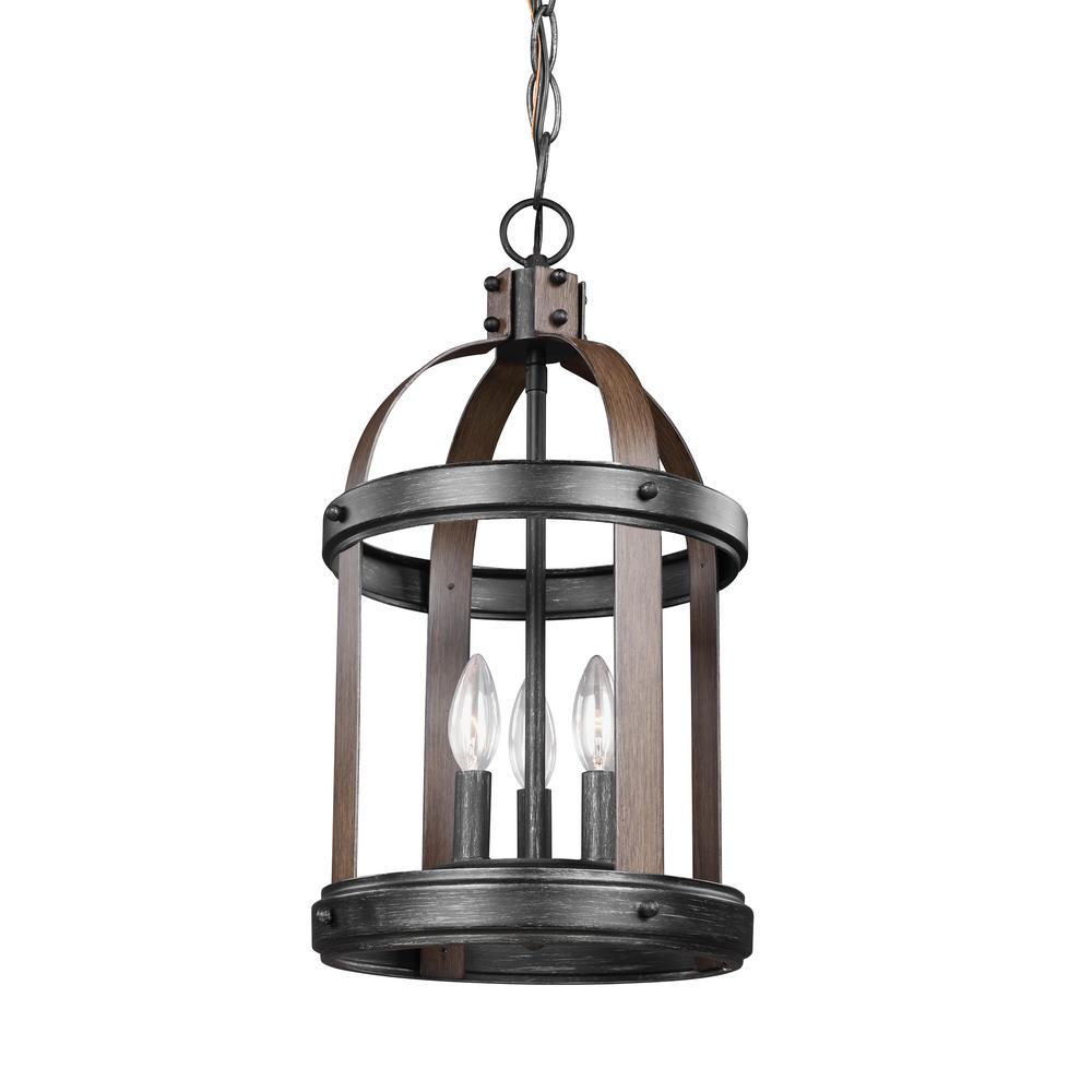 Sea Gull Lighting Lonoke 10 5 In W 3 Light Weathered Gray And Distressed Oak Hall Foyer Pendant