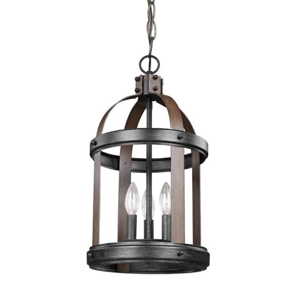 Lonoke 10.5 in. W. 3-Light Weathered Gray and Distressed Oak Hall-Foyer Pendant