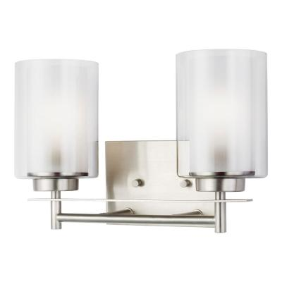 Elmwood Park 13.25 in. W 2-Light Brushed Nickel Vanity Light with LED Bulbs
