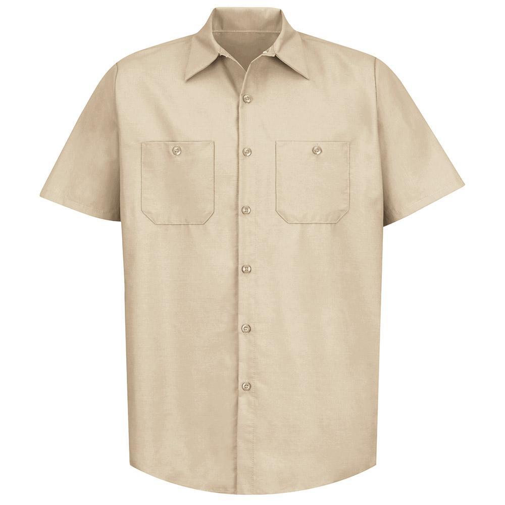 Men's Size L Light Tan Industrial Work Shirt