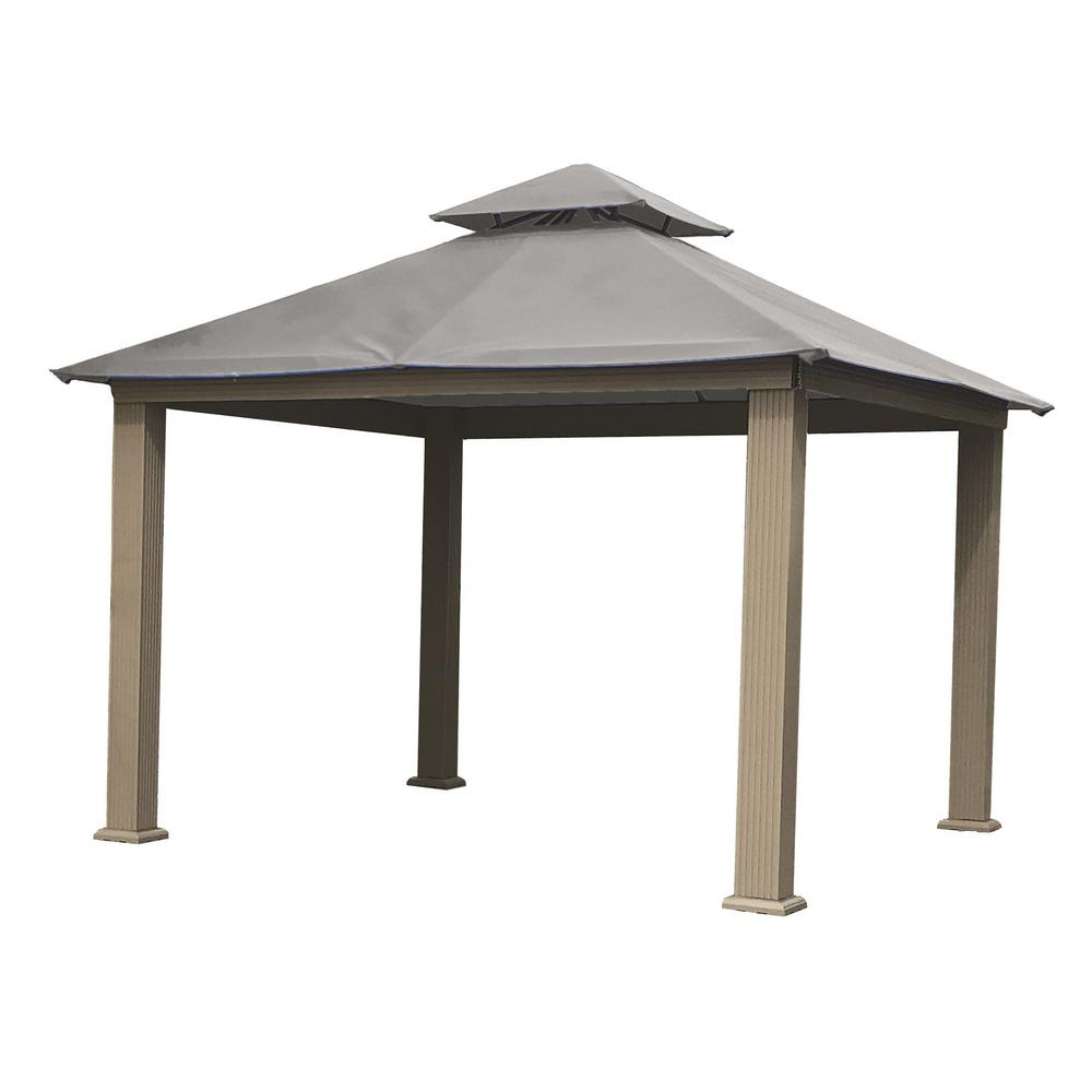 12 Ft X Acacia Aluminum Gazebo With Mist Gray Canopy Ag12 Sd The Home Depot