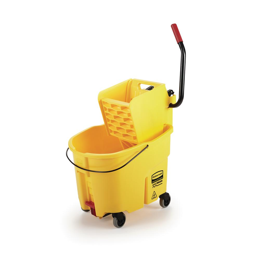 Rubbermaid Commercial Products WaveBrake 35 Qt. 2.0 Side-Press Mop Bucket with Drain, Yellow