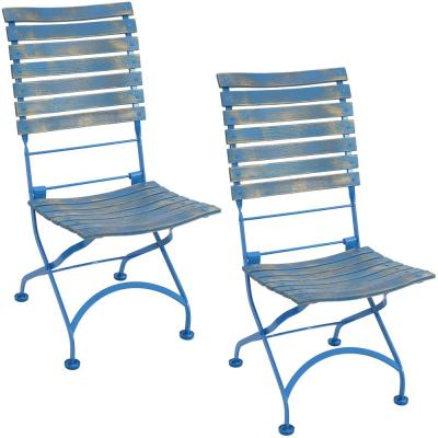 Cafe Couleur Folding Chestnut Blue Wooden Outdoor Folding Dining Chair (Set of 2)