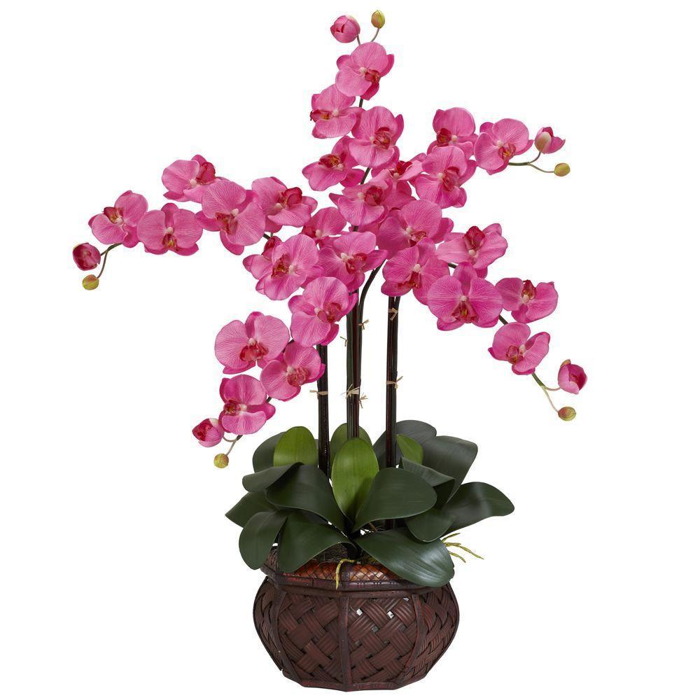 31 in. H Dark Pink Phalaenopsis with Decorative Vase Silk Flower