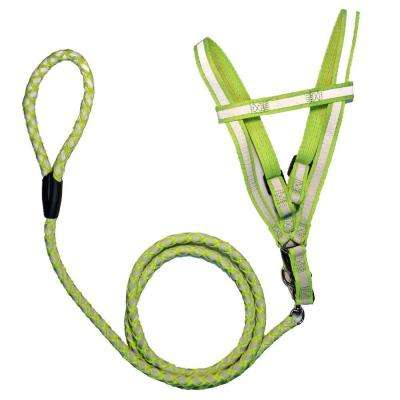 Medium Neon Green Reflective Stitched Easy Tension Adjustable 2-in-1 Dog Leash and Harness