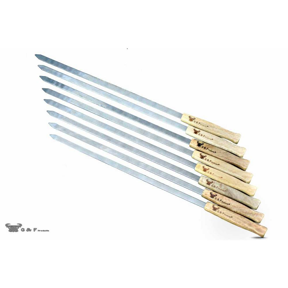 17 in. Long Large Stainless Steel Brazilian-Style BBQ Skewers with Heavy