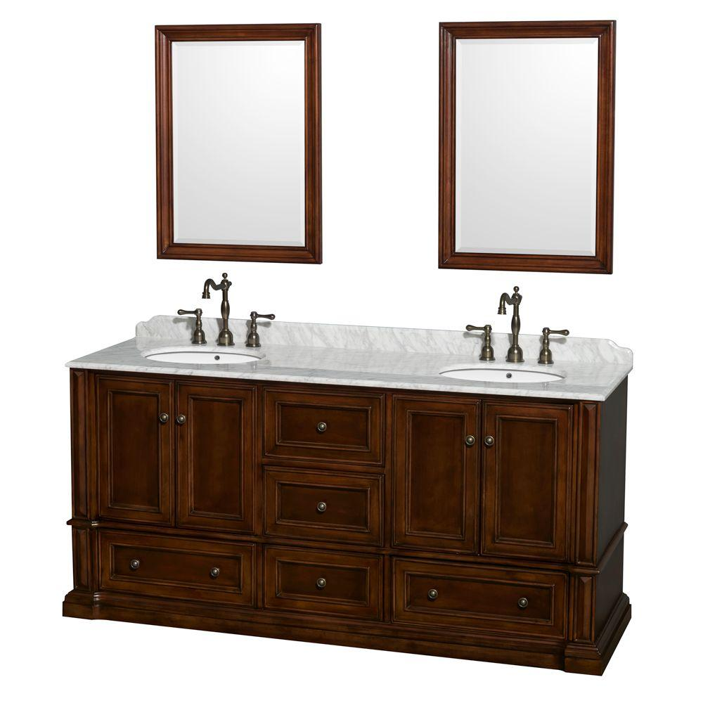 Wyndham Collection Rochester 73.5 in. Double Vanity in Cherry with Marble Vanity Top in White Carrara and 24 in. Mirrors