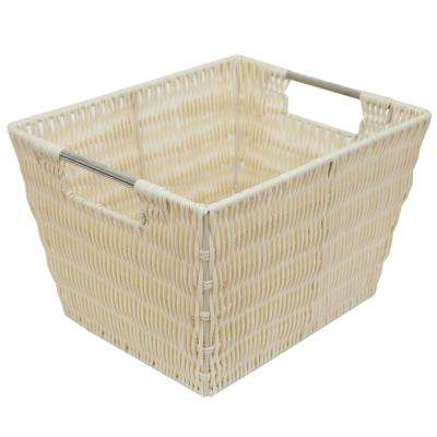 Intricate Decorative Weave 10 in. x 8 in. Ivory Basket