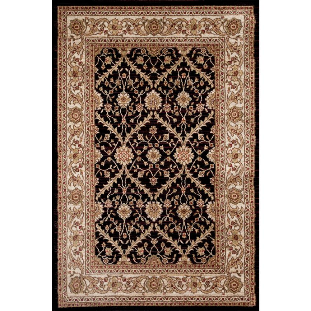 World Rug Gallery Oriental Design Floral Black 7 ft. 10 in. x 10 ft. 2 in. Indoor Area Rug