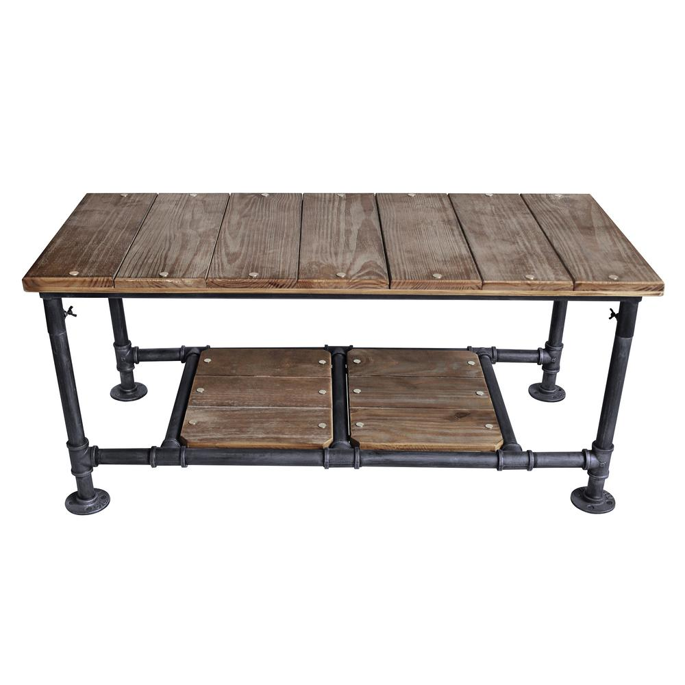 Industrial Grey Driftwood Open Coffee Table: Armen Living Kyle Industrial Grey Coffee Table-LCKYCOSBPI