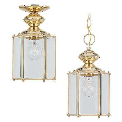 Classico 1-Light Polished Brass Outdoor Hanging Pendant Fixture