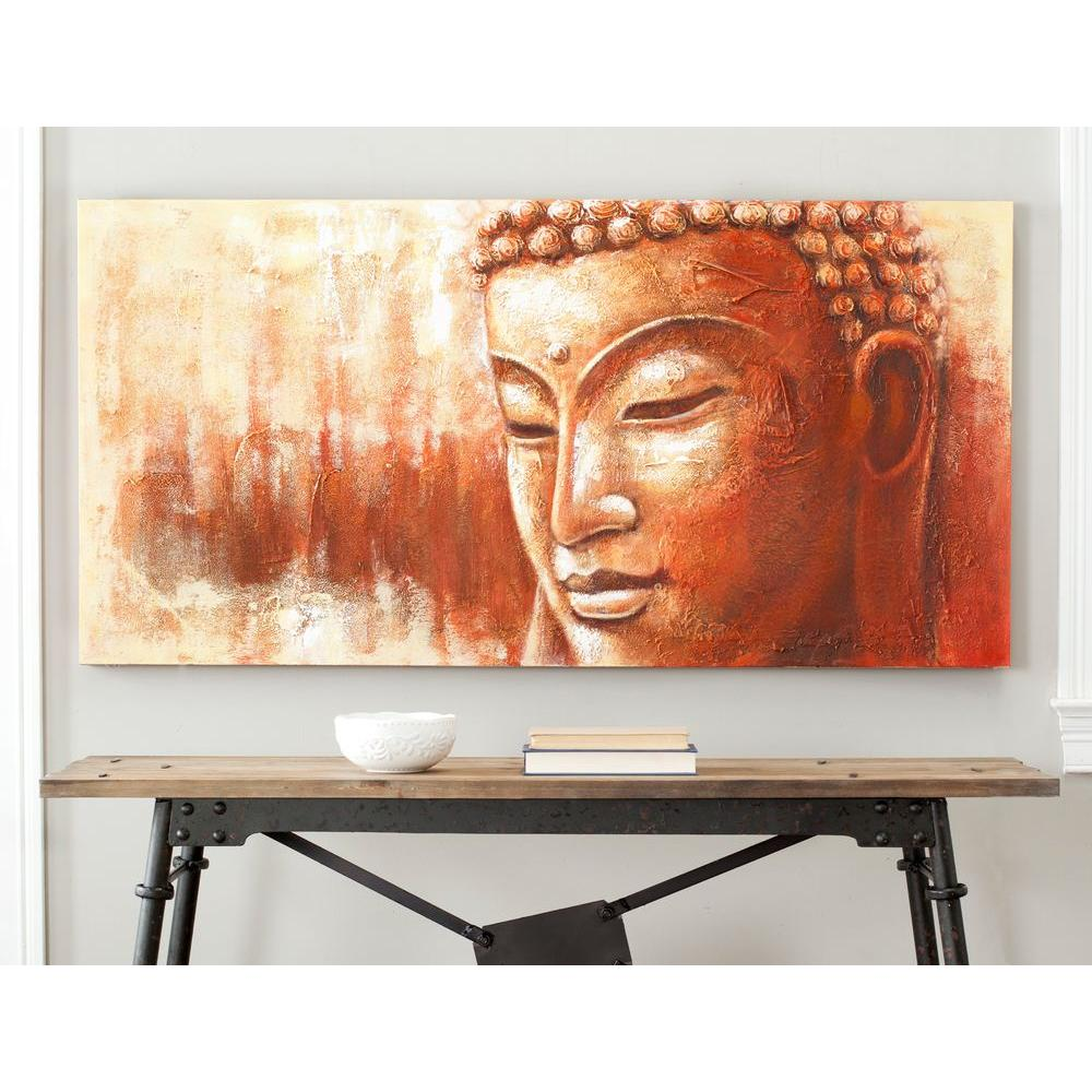 Orange and white buddha painting wall